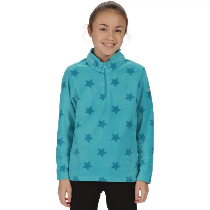 Kids Lovely Jubblie Lightweight Half Zip Fleece Aqua Star Print