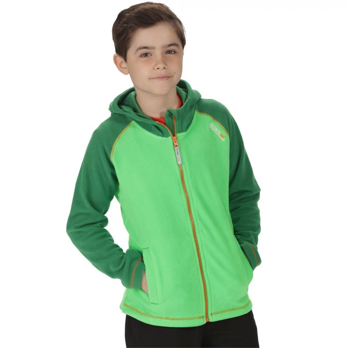 Kids Upflow Lightweight Hooded Fleece Fairway Green Verdant