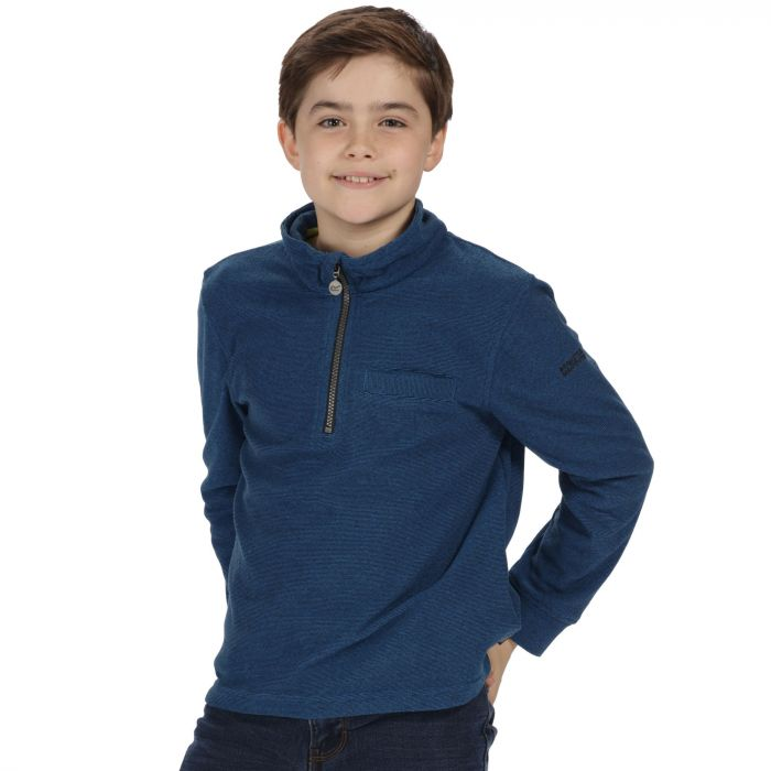 Kids Oaklands Lightweight Half Zip Mini Stripe Fleece Oxford Blue