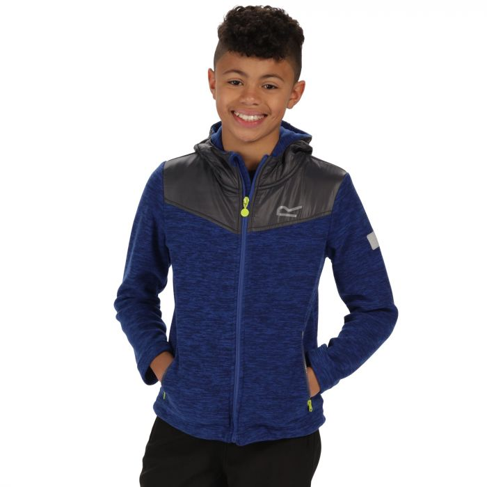 Kids Atomizer Mid Weight Hooded Marl Fleece Surfspray Blue Seal Grey