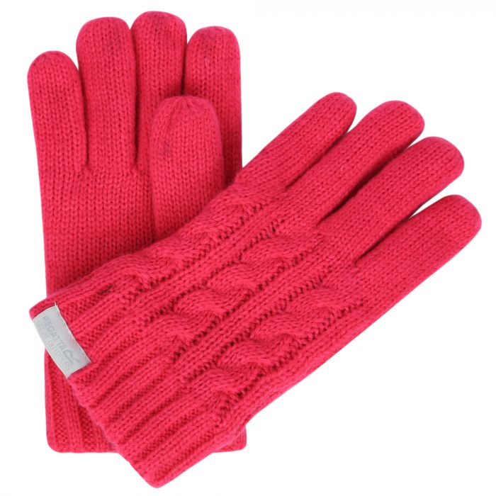 Kids Multimix Fleece Lined Cable Knit Gloves Bright Blush