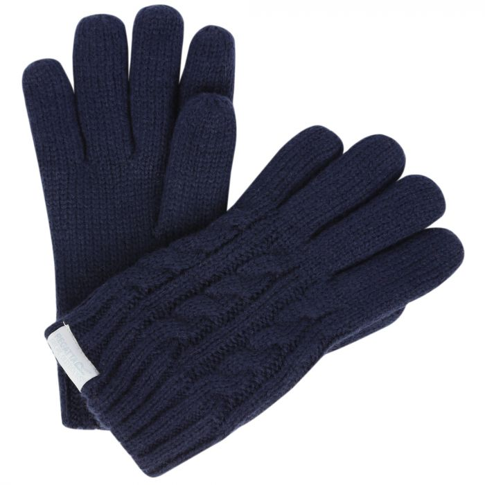 Kids Multimix Fleece Lined Cable Knit Gloves Navy