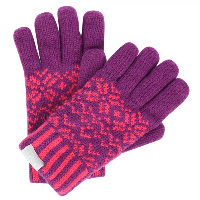 Kids Snowflake II Fleece Lined Fair Isle Knit Gloves Winberry