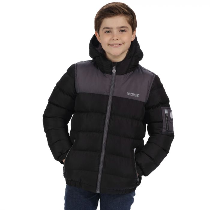 Kids Larkhill Heavyweight Quilted Puffer Jacket Black Iron