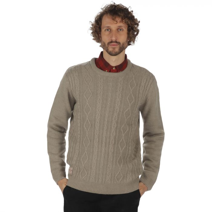 Koby Mid Weight Cable Knit Sweater Parchment