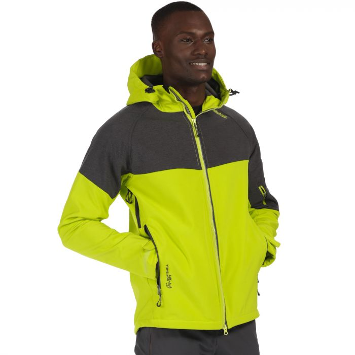 Hewitts III Wind Resistant Stretch Softshell Jacket with Hood Lime Green