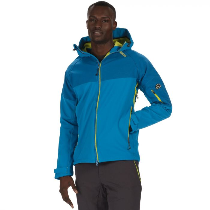 Hewitts III Wind Resistant Stretch Softshell Jacket with Hood Petrol Blue