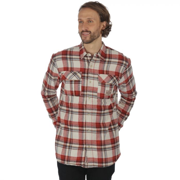 Tyrus Long Sleeved Fleece Shirt Irish Cream Tuscan Red Check