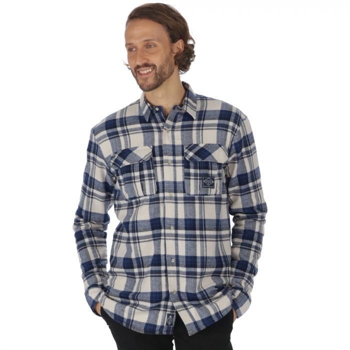 Tyrus Long Sleeved Fleece Shirt Irish Cream Navy Check
