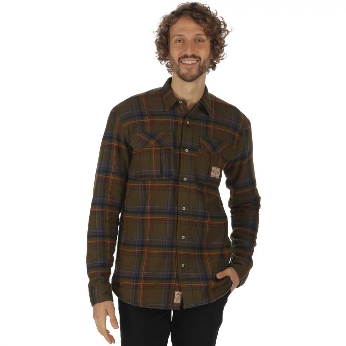 Tyrus Long Sleeved Fleece Shirt Camo Green Check