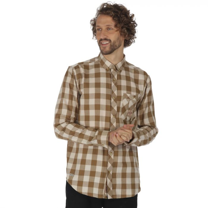 Loman Long Sleeved Checked Shirt Dark Camel