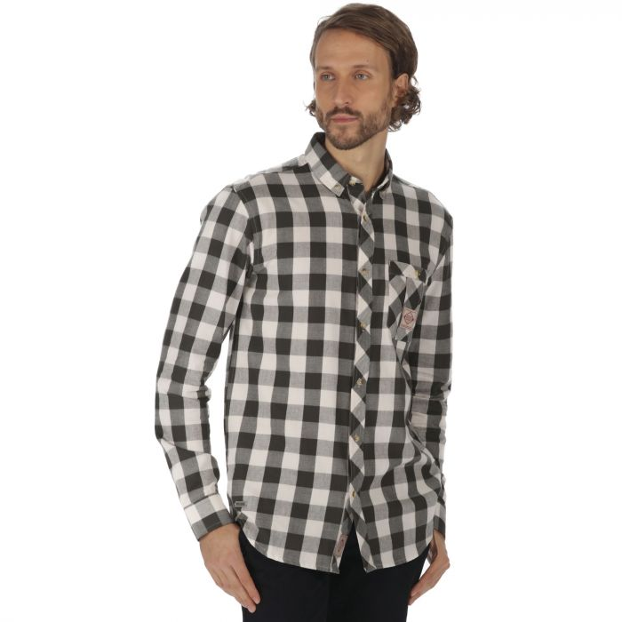 Loman Long Sleeved Checked Shirt Dark Khaki