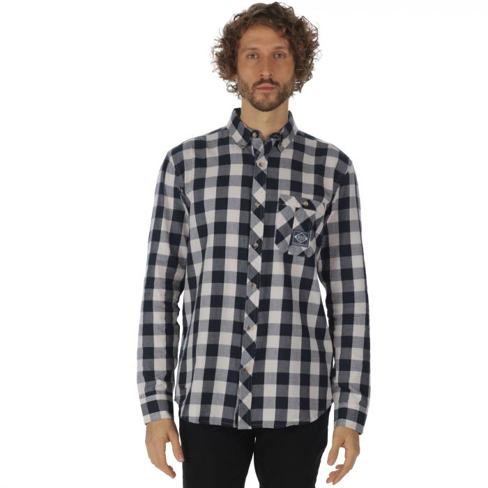 Loman Long Sleeved Checked Shirt Navy