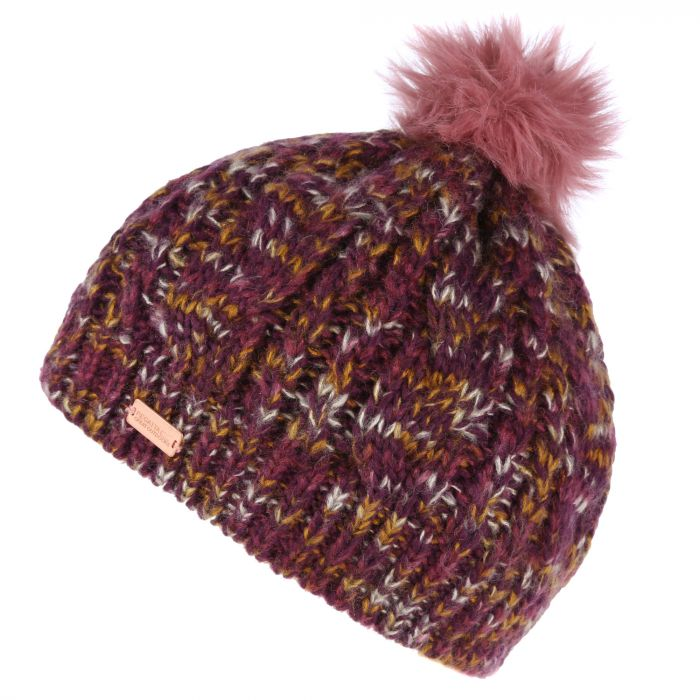 Women's Frosty Knitted Bobble Hat Fig