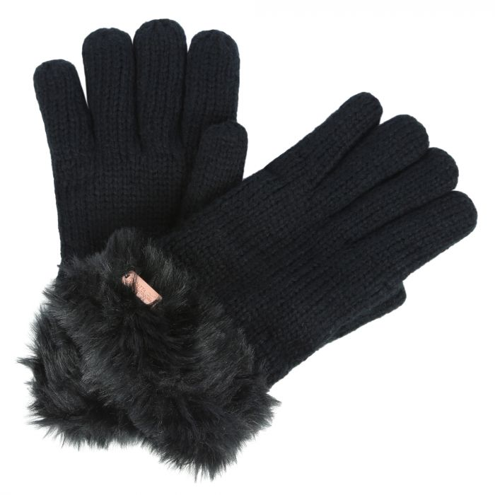 Women's Ludz Faux Fur Trim Knit Gloves Black