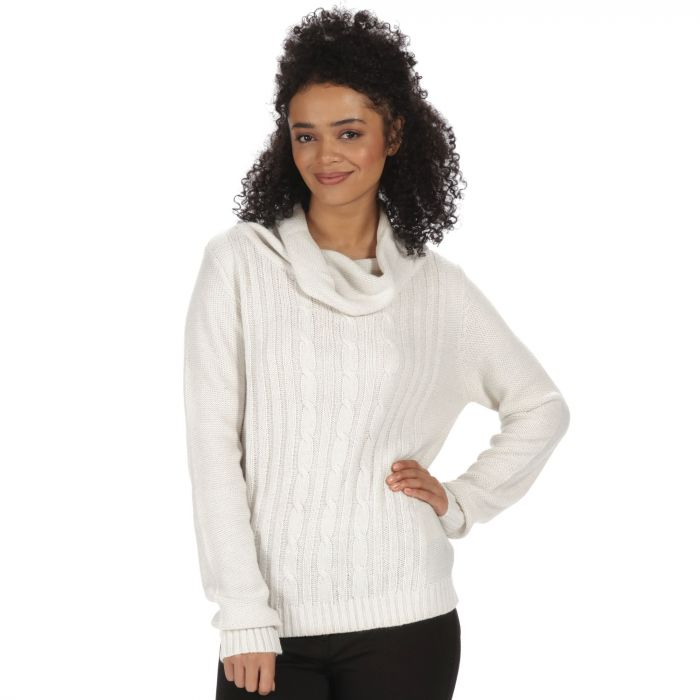 Karalee Cowl Neck Cable Knit Sweater Light Vanilla