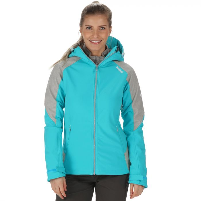 Desoto III Wind Resistant Hooded Softshell Jacket Aqua Light
