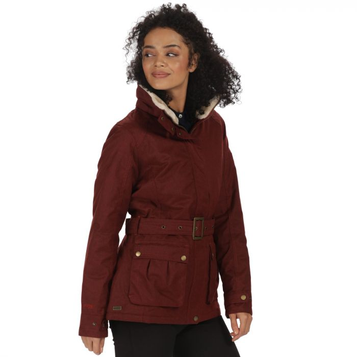 Laurissa Waterproof Insulated Wool Effect Jacket Garnet