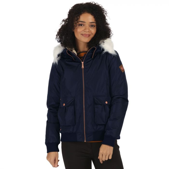 Berdine Waterproof High Shine Bomber Jacket with Hood Navy