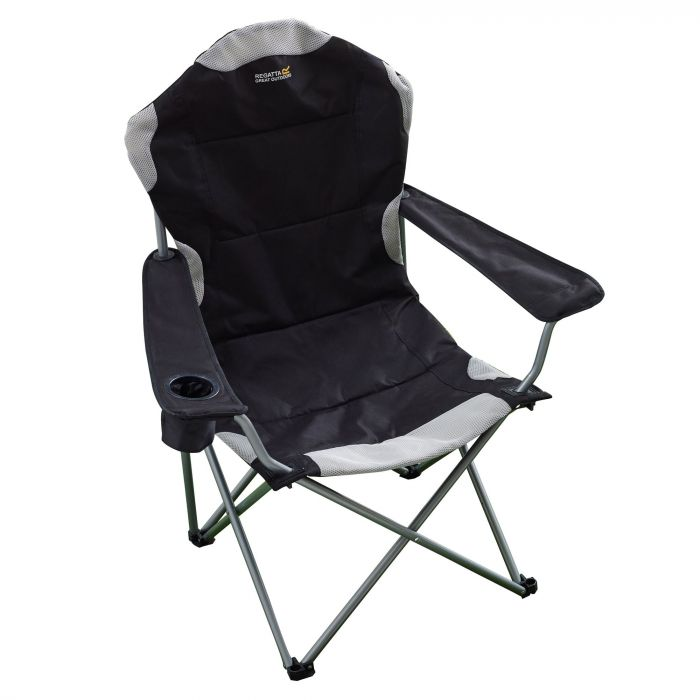 Kruza Padded Folding Camping Chair with Storage Bag Black Seal Grey