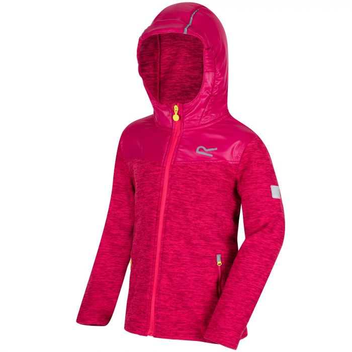 Kids Atomizer Mid Weight Hooded Marl Fleece Bright Blush Dark Cerise