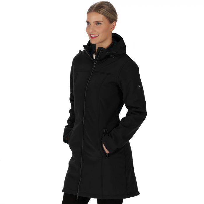 Adelma Long Length Wind Resistant Hooded Softshell Jacket Black