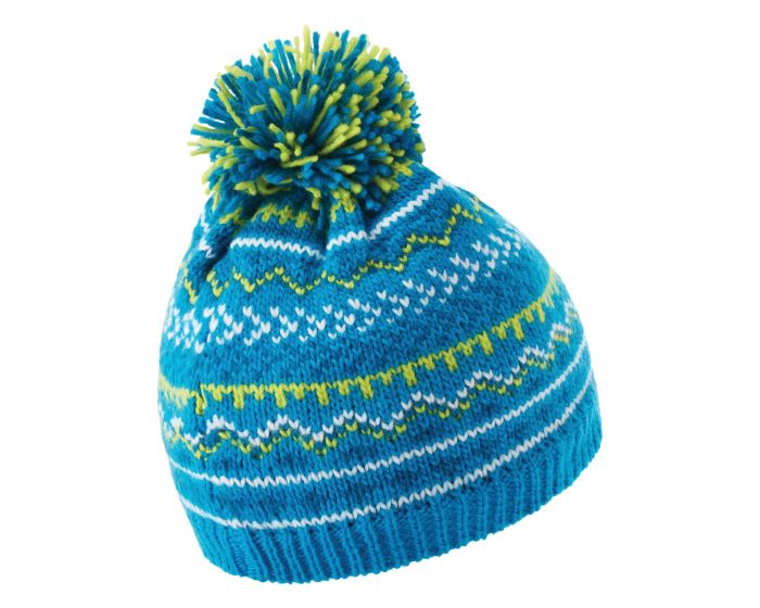 Dare 2b - Boys Buzer Fleece Lined Knit Bobble Beanie Methyl Blue Petrol Blue Space Grey