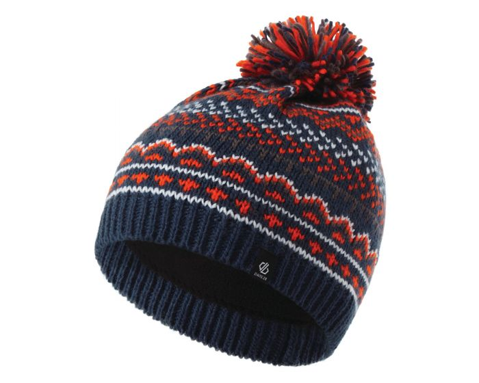 Dare 2b - Boys Buzer Fleece Lined Knit Bobble Beanie Dark Denim Blaze Orange Aluminium Grey