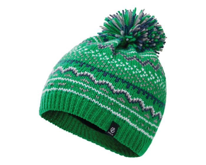 Dare 2b - Boys Buzer Fleece Lined Knit Bobble Beanie Vivid Green Dark Denim Space Grey