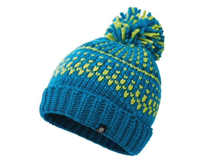 Dare 2b - Boys Agitate Ii Fleece Lined Knit Bobble Beanie Petrol Blue Methyl Blue Lime Punch