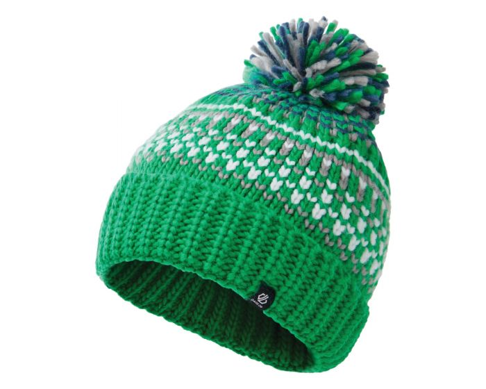 Dare 2b - Boys Agitate Ii Fleece Lined Knit Bobble Beanie Vivid Green Space Grey Dark Denim
