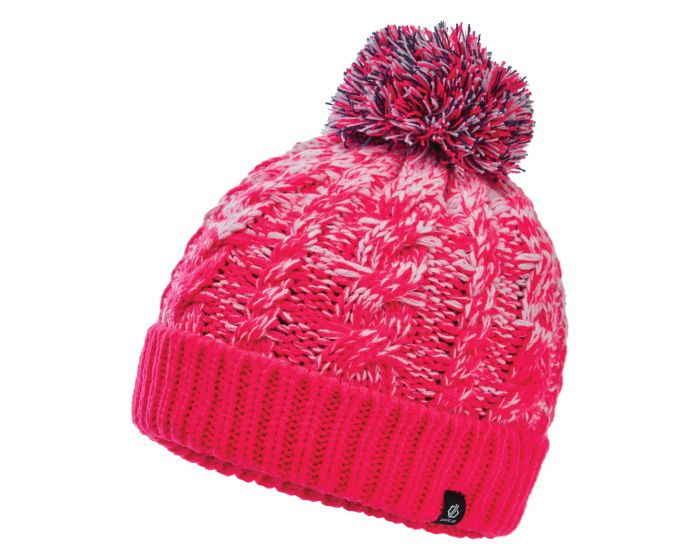 Dare 2b - Girls Lively Ii Fleece Lined Knit Bobble Beanie Neon Pink