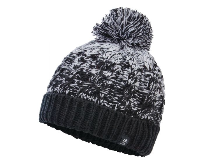 Dare 2b - Girls Lively Ii Fleece Lined Knit Bobble Beanie Black White