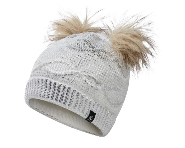Dare 2b - Girls Genius Cable Knit Faux Fur Bobble Beanie White