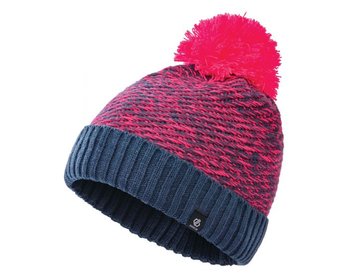 Dare 2b - Girls Hastily Ii Fleece Lined Knit Bobble Beanie Dark Denim Neon Pink