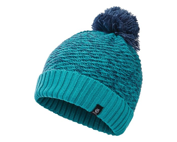 Dare 2b - Girls Hastily Ii Fleece Lined Knit Bobble Beanie Ceramic Blue Dark Denim