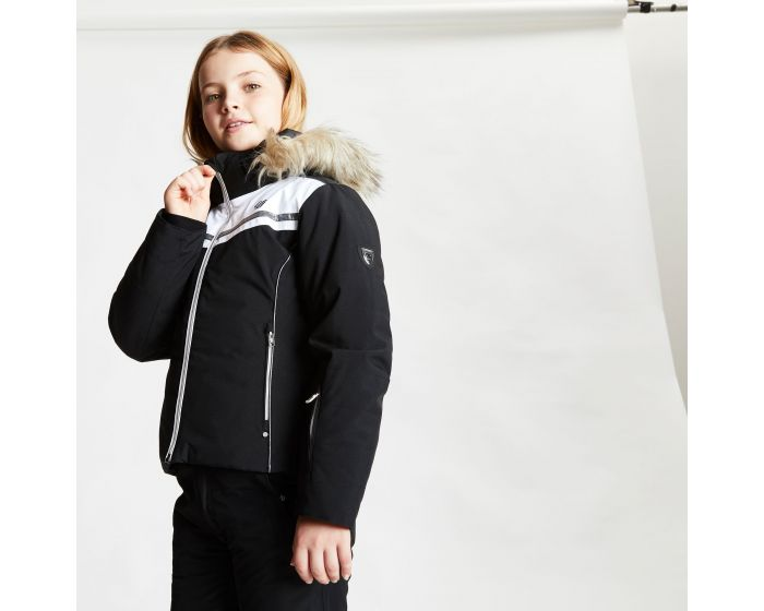Dare 2b - Girls Estimate Waterproof Fur Trim Hooded Ski Jacket Black White