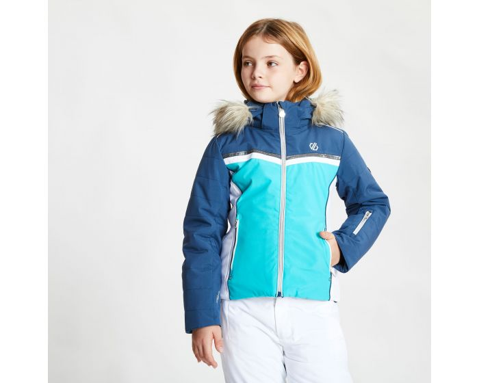 Dare 2b - Girls Estimate Waterproof Fur Trim Hooded Ski Jacket Ceramic Blue Dark Denim