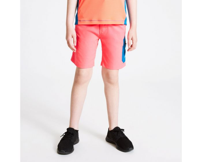 Dare 2b - Kids Reprise Lightweight Walking Shorts Fiery Coral Petrol Blue