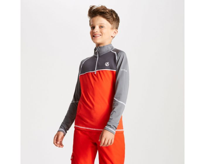 Dare 2b - Kids Formate Core Stretch Half Zip Midlayer Fiery Red Aluminium Grey