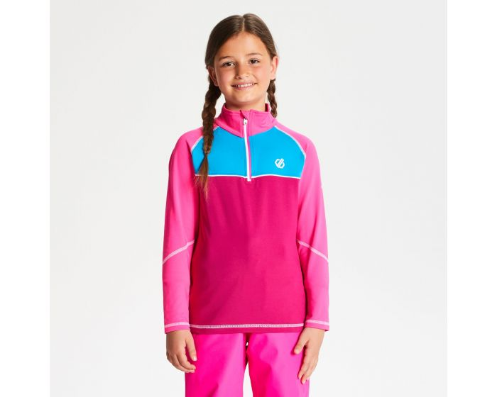 Dare 2b - Kids Formate Core Stretch Half Zip Midlayer Fuchsia Cyber Pink