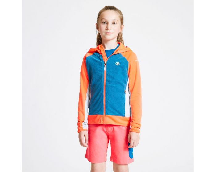 Dare 2b - Kids Twofold Hooded Core Stretch Midlayer Fiery Coral Petrol Blue