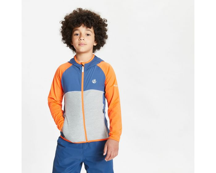 Dare 2b - Kids Hasty Full Zip Hooded Lightweight Core Stretch Midlayer Blaze Orange Dark Denim