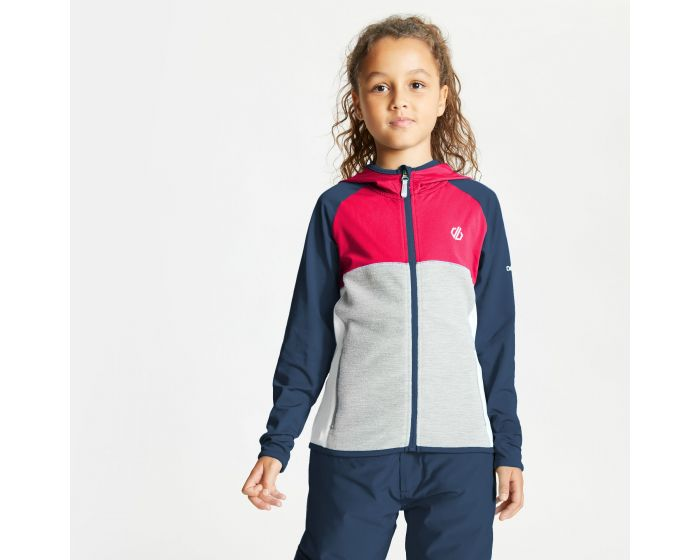 Dare 2b - Kids Hasty Full Zip Hooded Lightweight Core Stretch Midlayer Dark Denim Neon Pink