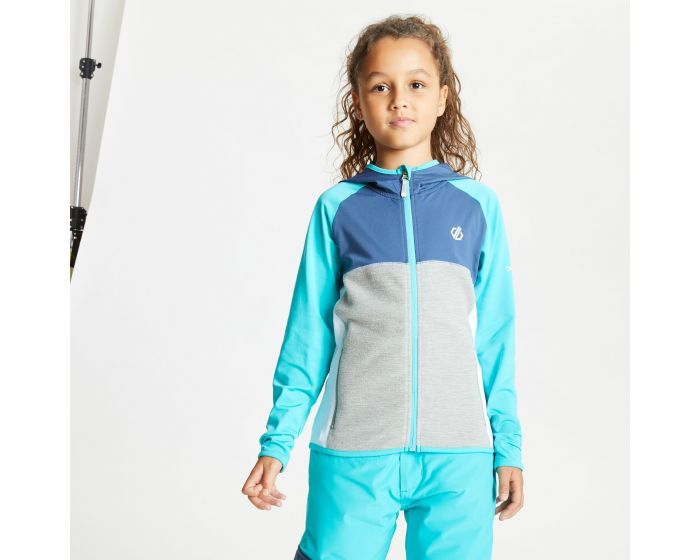 Dare 2b - Kids Hasty Full Zip Hooded Lightweight Core Stretch Midlayer Ceramic Blue Dark Denim