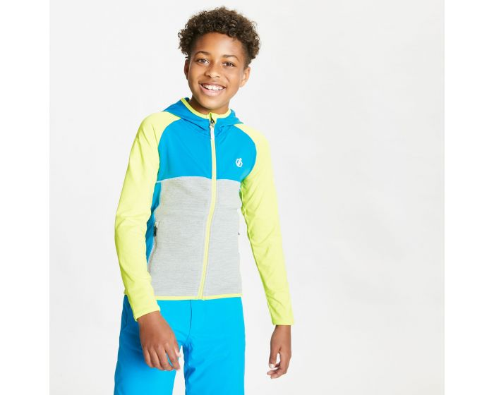 Dare 2b - Kids Hasty Full Zip Hooded Lightweight Core Stretch Midlayer Lime Punch Methyl Blue