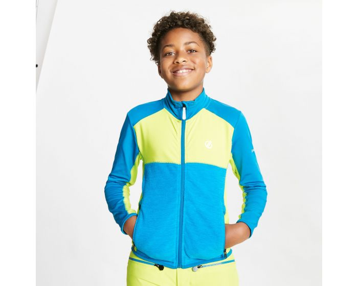 Dare 2b - Kids Except Full Zip Lightweight Core Stretch Midlayer Lime Punch Petrol Blue
