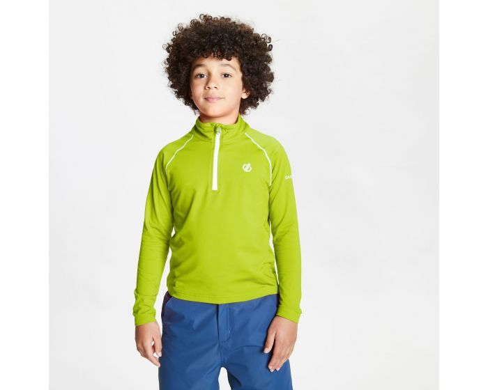 Dare 2b - Kids Consist Ii Half Zip Lightweight Core Stretch Midlayer Lime Punch