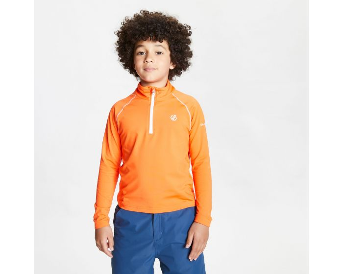 Dare 2b - Kids Consist Ii Half Zip Lightweight Core Stretch Midlayer Blaze Orange