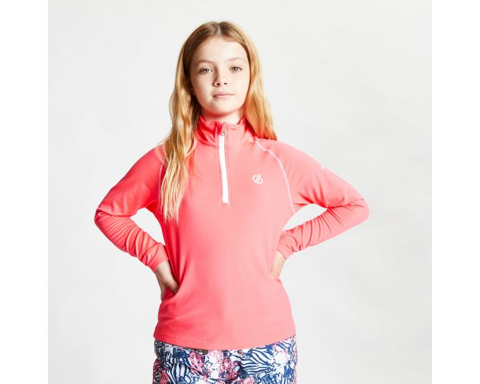 Dare 2b - Kids Consist Ii Half Zip Lightweight Core Stretch Midlayer Neon Pink